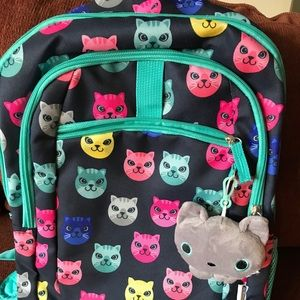 Other - Kids Cat Backpack with Plush Clipon NEVER USED